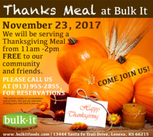 2nd Annual FREE Thanks Meal 2017 @ Bulk It | Lenexa | Kansas | United States